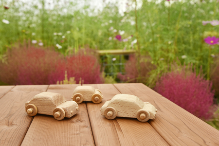 Miniature wooden cars in the garden