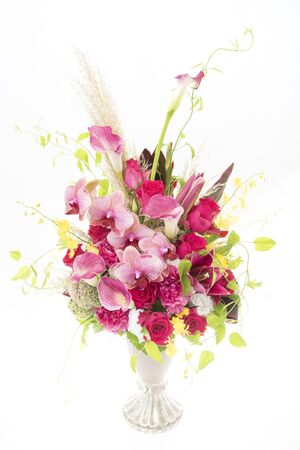 Beautiful flower arrangement on white background.