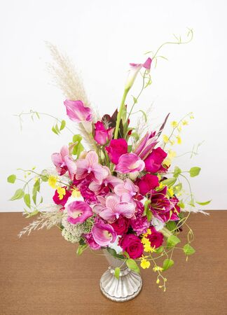 Beautiful flower arrangement on white background.