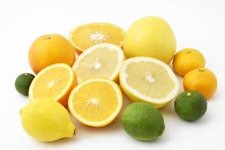 Mixed citrus fruits including lemon, lime, grapefruits, oranges, satsuma oranges, yuzu and sudachi Stock fotó
