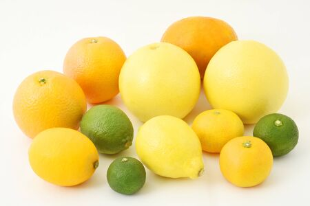 Mixed citrus fruits including lemon, lime, grapefruits, oranges, satsuma oranges, yuzu and sudachi
