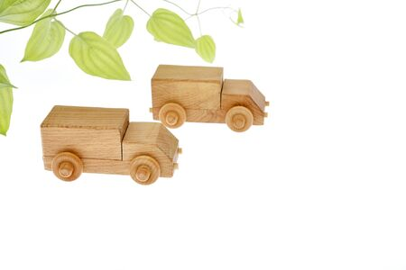 Eco car image, wooden truck 写真素材 - 131872178