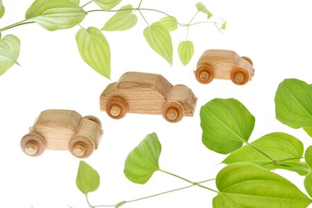 Eco car image, wooden cars 写真素材 - 131872055
