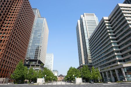 High-rise buildings of fine weather - Marunouchi and Tokyo Station , Tokyo, Japan
