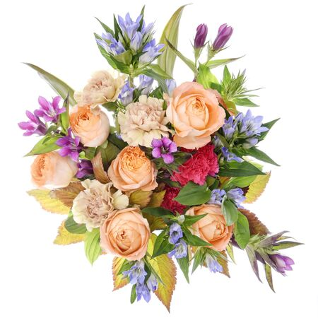 Flower arrangement : Rose, Gentian, Carnation 写真素材