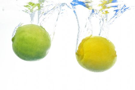 Lemon and lime underwater