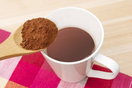 Cup of hot chocolate with cocoa powder Stok Fotoğraf