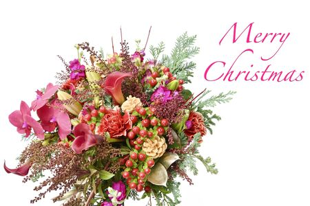 Merry Christmas Card Concept. ( Phalaenopsis orchid, Calla, Carnation, Hypericum, Lily Longiflorum Asiatic, Alstroemeria, Hiba Leaves, Pieris japonica ) Stok Fotoğraf