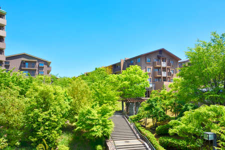 Japanese residential area surrounded by fresh greenery