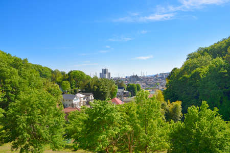 Landscape of fresh green forest and residential area