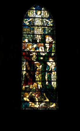 Cathedral stained glass window depicting children