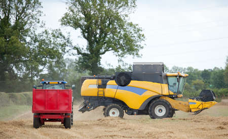 Combine harvester in summer photo