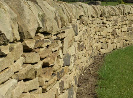 an erection: Recent  erection of a dry stone wall