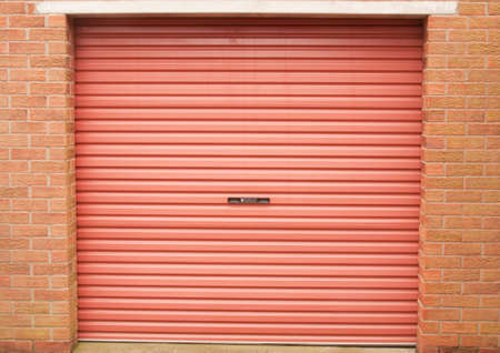 Roller garage door in red photo
