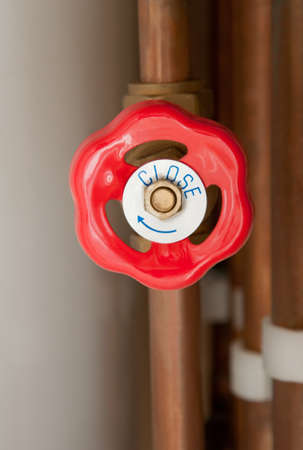 Gas tap as part of a central heating system photo