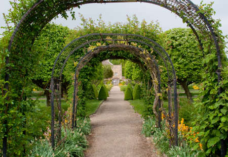 overhanging: Archway with overhanging plants Stock Photo