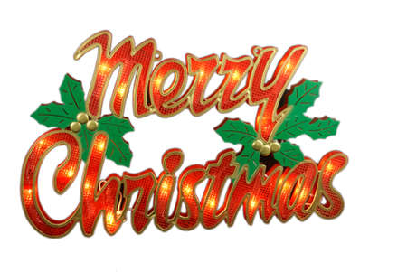 Merry Christmas Sign isolated on white white backround photo