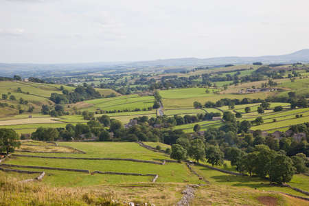 Countryside view on the way up to Malham Cove in North Yorkshire, England photo