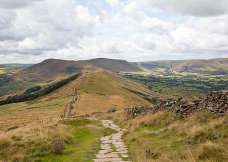 mam: The path looking towards Mam Tor up in the hills in Derbyshire, England, uk