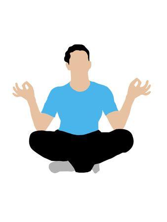 man meditating: meditating man on white background Stock Photo