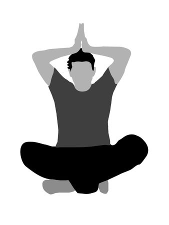 meditating pose on white background photo