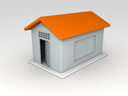 chit: three dimensional hut shape chit container on white background