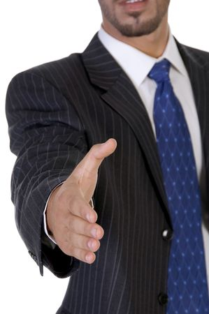 man offering hand shake on an isolated background photo