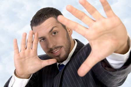 executive giving directing hand gesture against white background photo