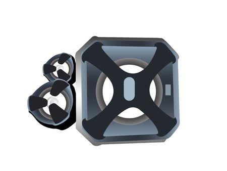 speakers on isolated background       photo