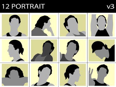 portrait of mens faces on block background   photo