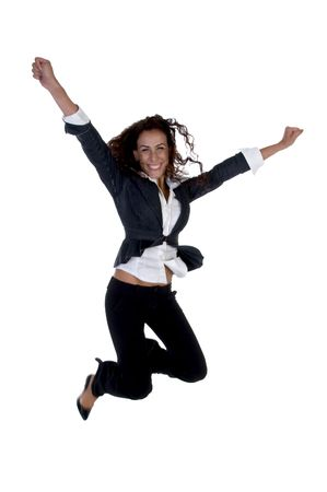 hurray: businesswoman jumping against white background