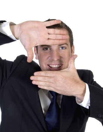 man making frame shape with fingers on an isolated background photo