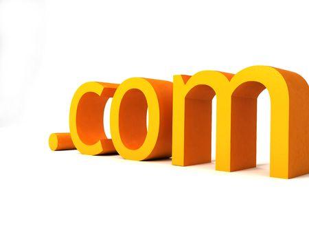 dot com: three dimensional dot com text