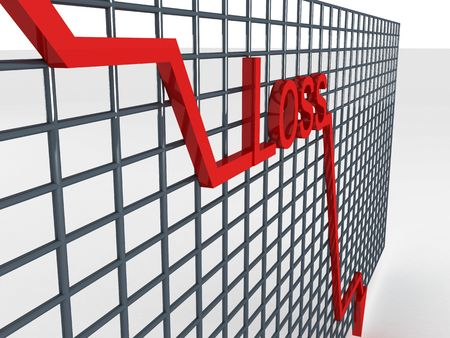 dimentional: side view of three dimentional decreasing graph Stock Photo