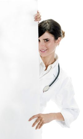 doctor standing with placard on an isolated white background photo