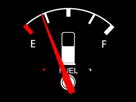 gas gauge:  isolated on black three dimensional  fuel  gauge