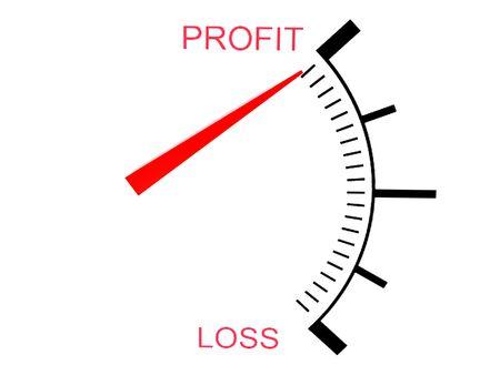 profiting: isolato tridimensionale perdita di profitto e manometro