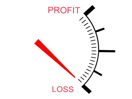 isolated on white three dimensional business loss  gauge photo