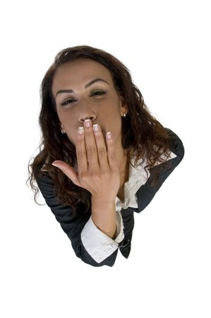 flying kiss: lady flying kiss upward on an isolated background Stock Photo