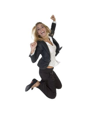 excited young businesswoman on an isolated background Standard-Bild