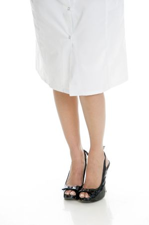 26: legs of doctor with white background Stock Photo