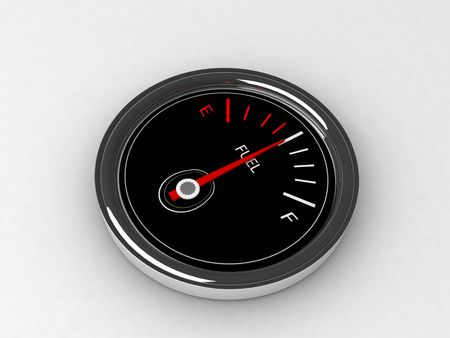 three dimensional  fuel  gauge on an  isolated background photo