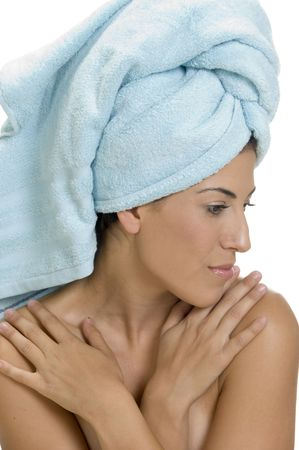 rejuvenating: lady in towel with folded hands