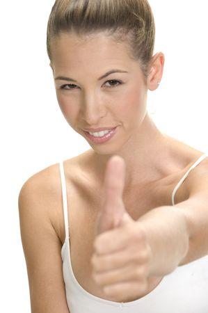 in bocca al lupo: donna sorridente che desiderano buona fortuna