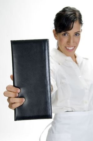 attractive waitress showing bill book in hand
