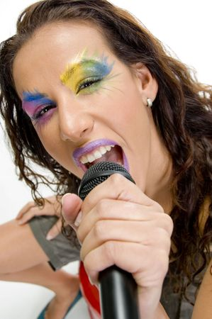 close up of woman singing into microphone Stock Photo - 3648424