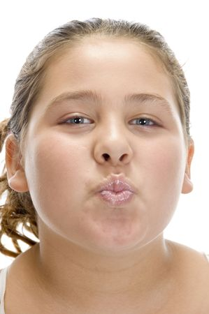 pout: young girl making pout mouth with white background