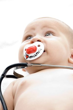 cheerful child with stethoscope with white background Stock Photo - 3655186