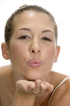 flying kiss: blonde lady giving flying kiss Stock Photo