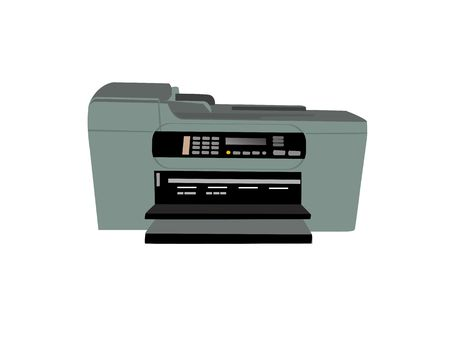 photocopier: fax photocopier on isolated background